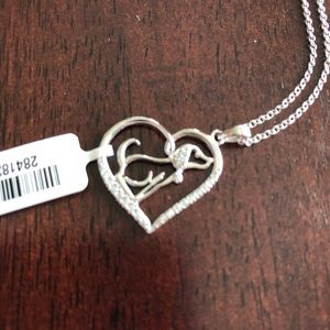 NWT Puppy/dog heart silver diamond chain necklace